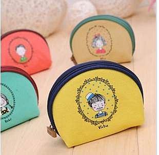 =優生活=《《超好用》》韓國創意文具 小清新童年帆布零錢包 半圓形化妝包 多功能包