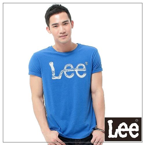 【秋冬商品 TOP ↘單一特價330】Lee 短袖T恤 灰色LOGO噴漆印刷 -男款(寶藍)
