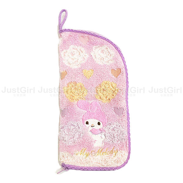 美樂蒂 水壺袋 毛巾布 萬用收納袋 化妝包 雨傘套 拉鍊 居家 正版日本進口 * JustGirl *