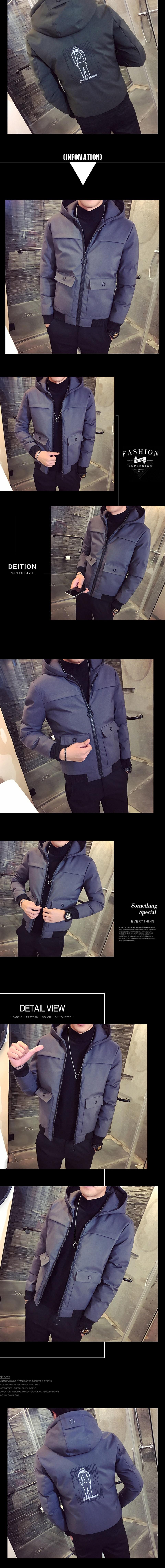 夾克外套-連帽冬季保暖中長版時尚夾棉男外套