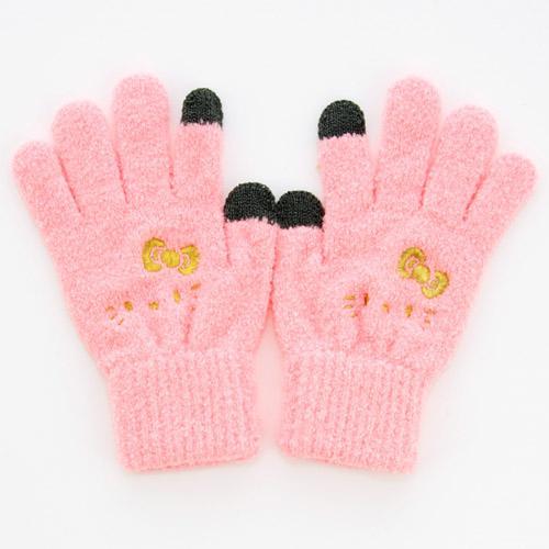 【真愛日本】15102600032 保暖手套可觸控-電繡大臉金結粉 KITTY 凱蒂貓 三麗鷗 保暖手套 冬天禦寒
