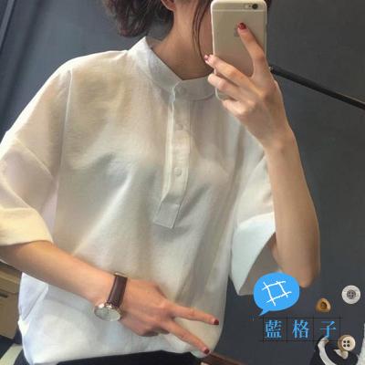 【V0100】shiny藍格子-舒適簡單.純色小立領蝙蝠五分袖上衣