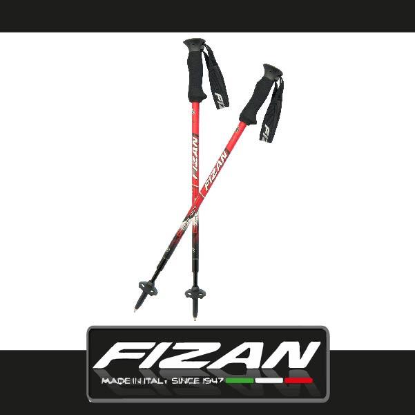 萬特戶外運動 FIZAN FZT03.31S 超輕三節式健行登山杖2入特惠組 輕量耐用 原裝進口 紅色