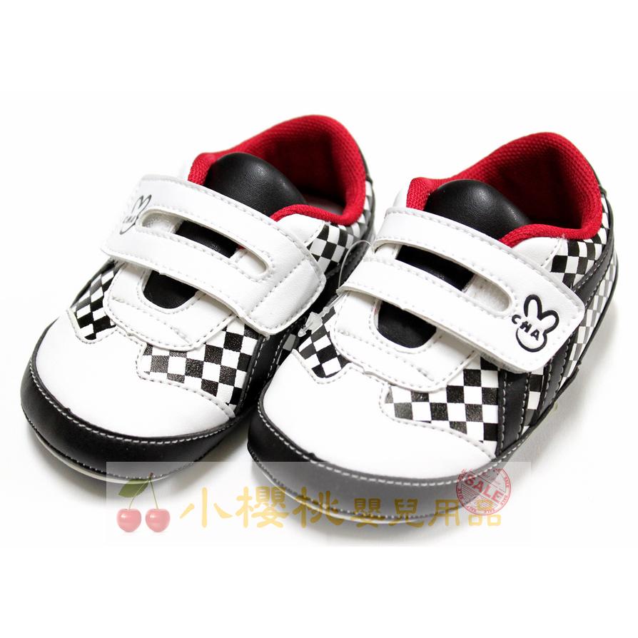 天鵝童鞋Cha Cha Two恰恰兔--賽車旗童鞋 學步鞋 台灣製造 黑色