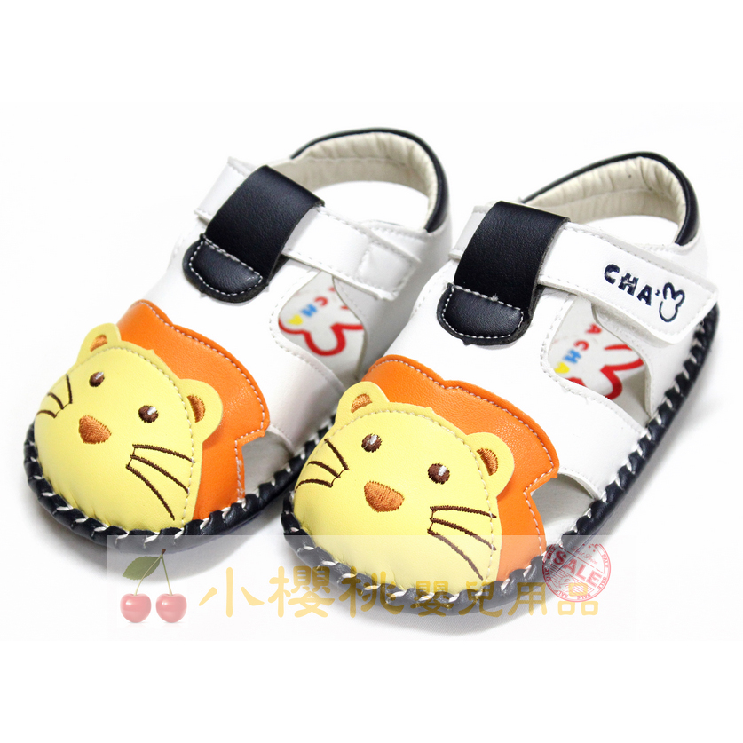 天鵝童鞋Cha Cha Two恰恰兔--小獅子涼鞋 學步鞋 白色 台灣製造