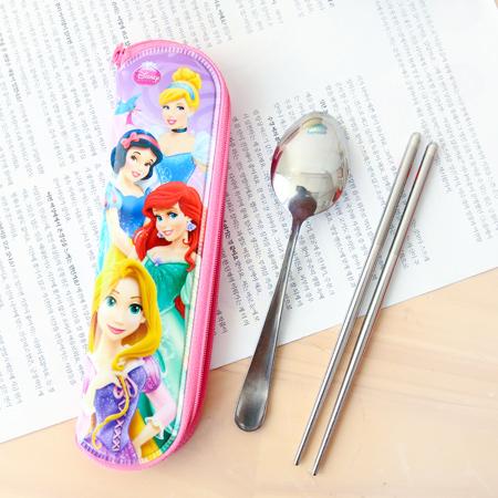 韓國 LILFANT 迪士尼公主餐具袋(中) 筷袋 筷子 湯匙 環保 筆袋 收納袋【N201266】