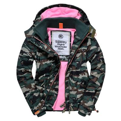 [女款]outlet正品 代購 英國極度乾燥 Superdry Arctic 女款 休閒三層拉鍊連帽保暖防風外套 迷彩/粉色