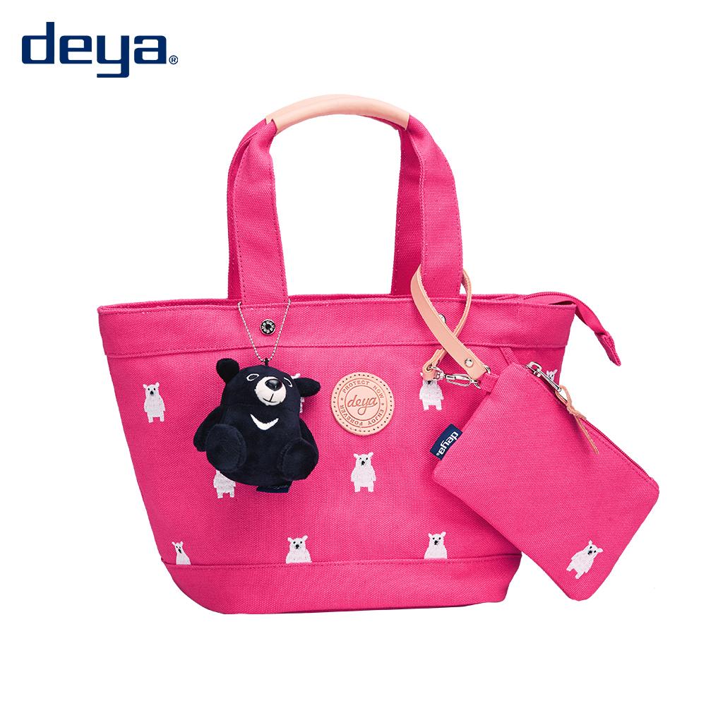 托特包 / deya 【deya熊森林系托特包】桃紅 環保材質 台灣製造 附deya熊玩偶