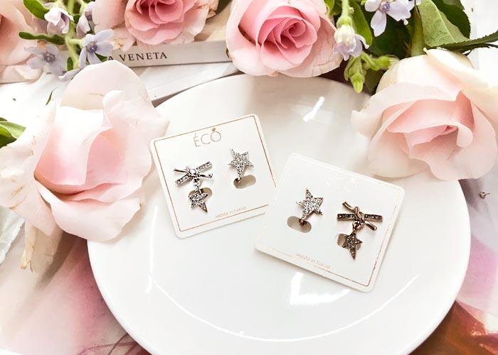 韓國飾品,星星造型耳環,鑲鑽耳環,不對稱耳環,夾式耳環