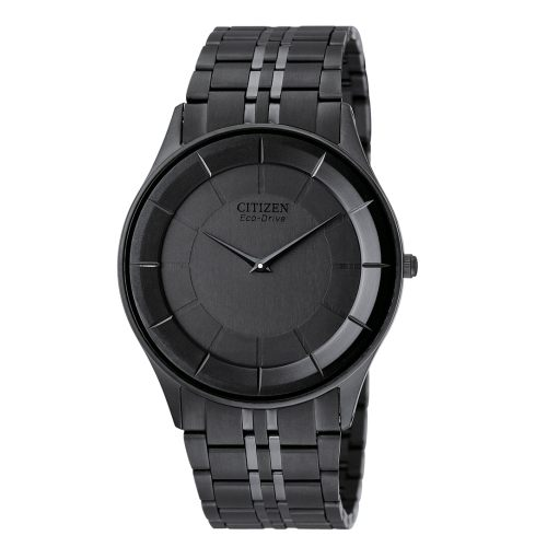 CITIZEN星辰AR3015-61E炫黑極致纖薄光動能腕錶/黑面36mm