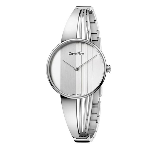 CK 曲線系列(K6S2N116)藝術穿越手環腕錶/白面34mm