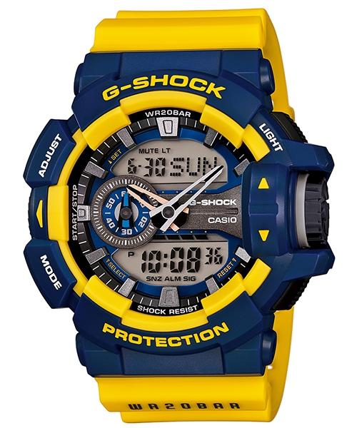國外代購 CASIO G-SHOCK GA-400-9B 雙顯 運動防水手錶腕錶電子錶男女錶 藍黃