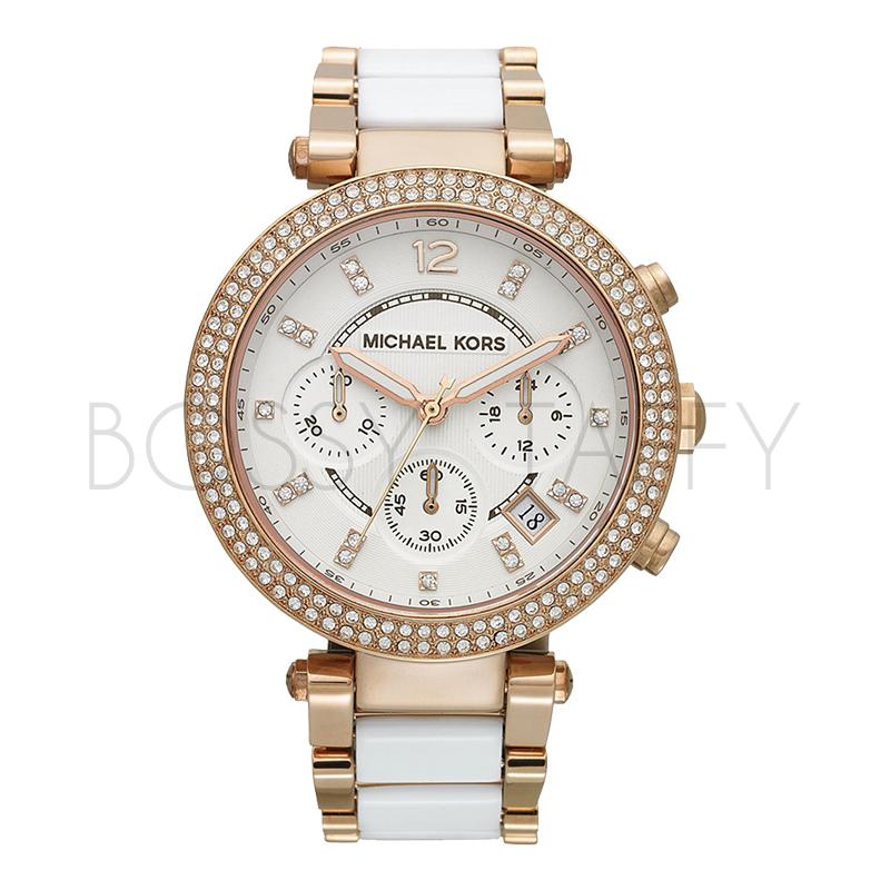 MK5774 MICHAEL KORS 玫瑰金白色相間水晶多功能女錶