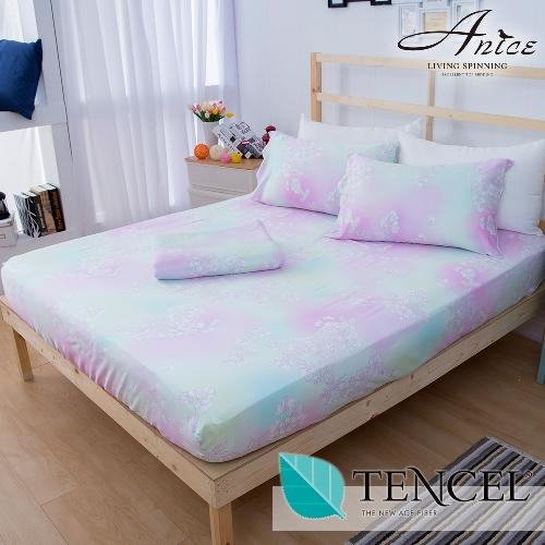A-nice 100%全天絲床包枕套組-雙人(6011綠野)