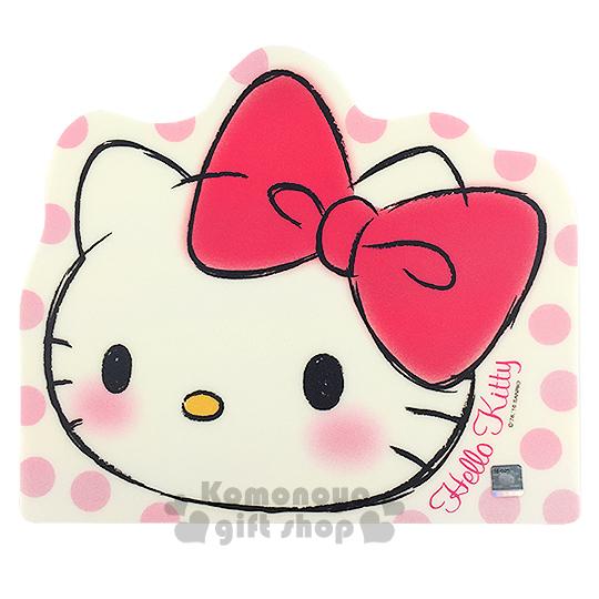 〔小禮堂〕Hello Kitty 造型滑鼠墊《白.大臉.粉點點》底部防滑