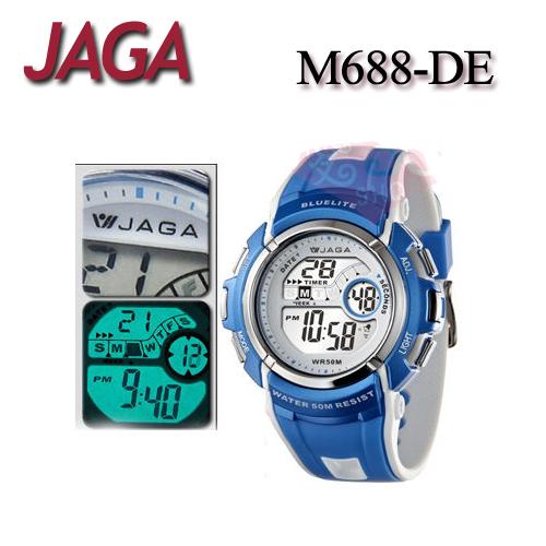 JAGA 捷卡 M688-DE 白藍 時尚休閒運動 多功能冷光電子錶-男錶 (公司貨/保證防水可游泳)