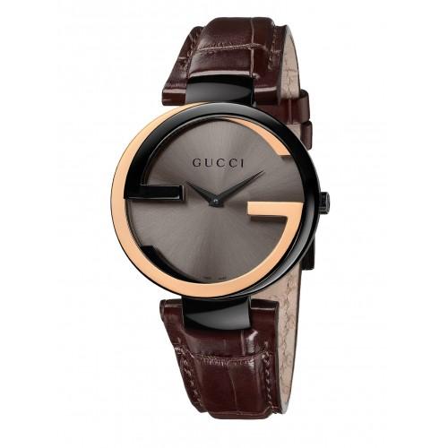 Gucci 古吉YA133304雙色18k經典雙G時尚腕錶/咖啡面37mm