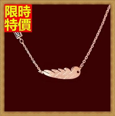 玫瑰金純銀項鍊吊墜-天使之翼羽毛生日禮物時尚飾品71x52【獨家進口】【米蘭精品】