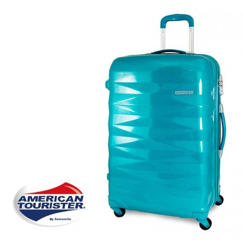 【加賀皮件】American Tourister 美國旅行者鑽石切面超輕亮面硬殼四輪行李箱/登機箱 25吋 【R87】
