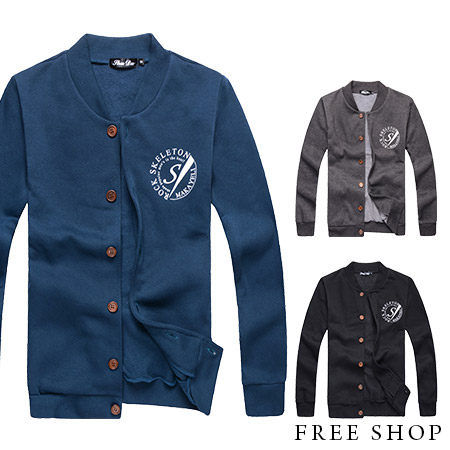 Free Shop【QR73987】美式休閒潮流ROCK字母印花刷毛保暖棉質棒球外套.三色 MIT台灣製