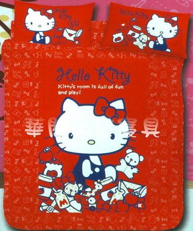 *華閣床墊寢具暢貨批發中心*《Hello Kitty.我的遊戲房-紅》單人床包組【床包+枕套*1】台灣三麗鷗授權 MIT