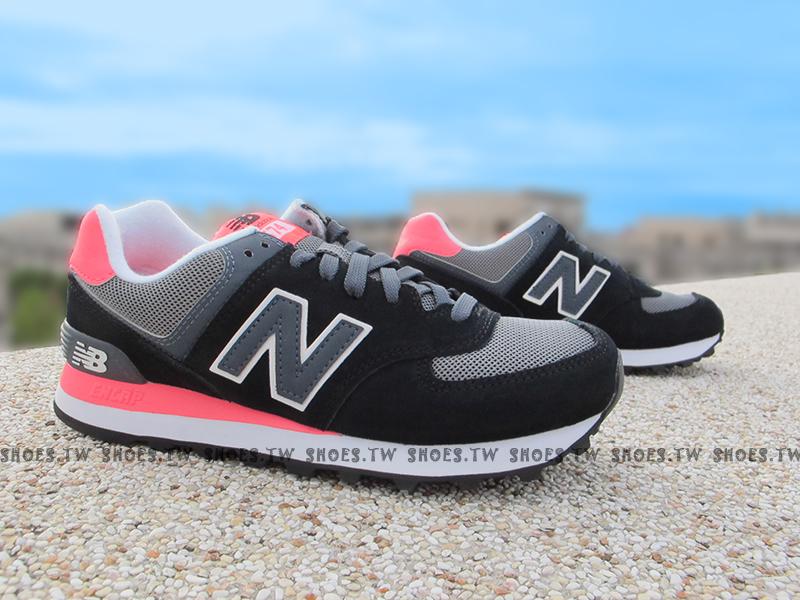 Shoestw【WL574CPL】NEW BALANCE NB574 復古慢跑鞋 黑灰螢光桃 女生尺寸