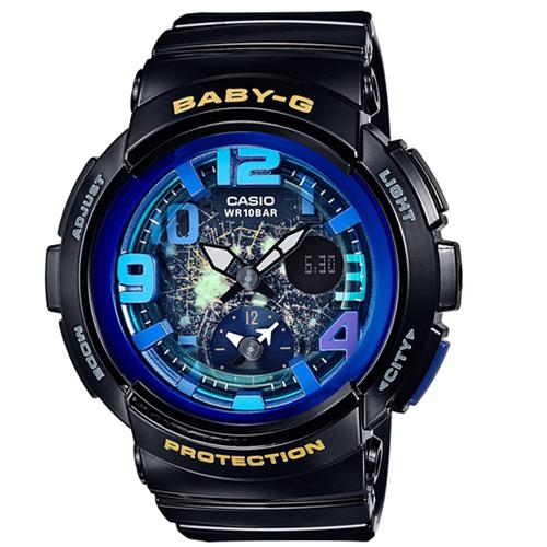 CASIO BABY-G BGA-190GL-1B海灘旅行雙顯流行腕錶/黑44mm