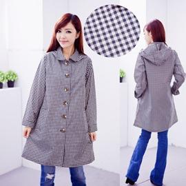 ●橘永親子●格子日本超好看時尚雨衣 風衣 風雨衣J1004