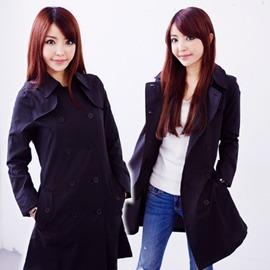 ●橘永親子●雙排扣日本超好看時尚雨衣 風衣 風雨衣-有二色J1003