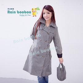 ●橘永親子●格子雙排扣時尚雨衣 風衣 風雨衣【J1008】
