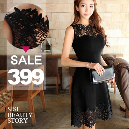SISI【D6112】性感氣質鏤空蕾絲雕花拼接縮腰修身無袖連身裙洋裝小禮服