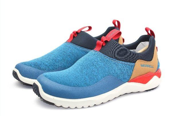 MERRELL 都會休閒款 避震氣墊 舒適耐走 直套式 免綁鞋帶 藍/卡其 男款