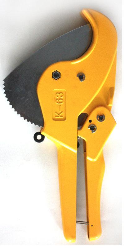 """[萊陽冷凍五金] 冷煤 冷氣 手工具 [PVC切管刀.水管剪刀] PVC Pipe Cutter;品號:42063 S63 K63 63MM 2"""" 大尺寸 省力 按鈕 回彈"""