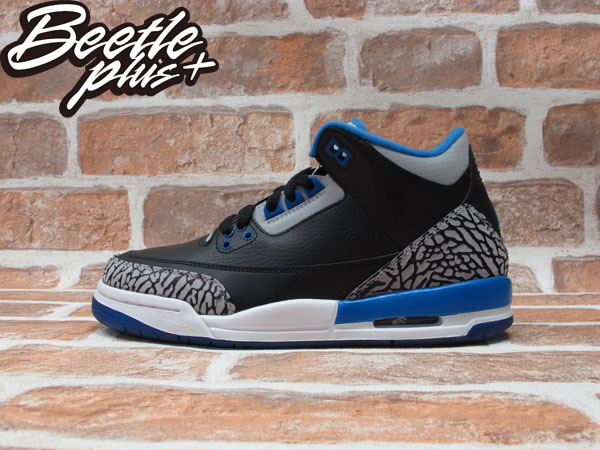 BEETLE PLUS NIKE AIR JORDAN 3 RETRO BG GS SPORT BLUE AJ3 黑藍 灰白 爆裂紋 女鞋 398614-007