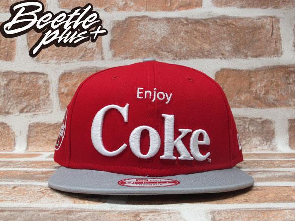 BEETLE PLUS 全新 NEW ERA SNAPBACK ENJOY COKE 可口可樂 電繡字 LOGO 紅灰 後扣棒球帽 NE-73