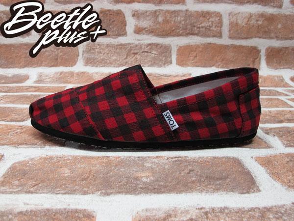 BEETLE PLUS 全新 TOMS CLASSICS RED BLACK CHECKERS 黑紅 蘇格蘭紋 帆布鞋 平底鞋 男鞋 TOMS-014