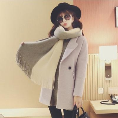 韓版雙色圍巾。AngelNaNa 超軟舒服 流蘇 女圍巾【SA0004】