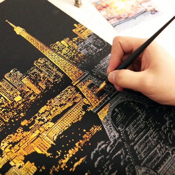 PS Mall 韓版 手刮城市金色夜景 刮刮樂 刮畫 金色夜景手刮畫 【J269】