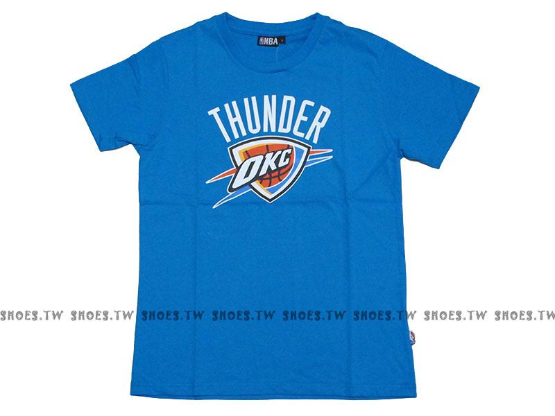 《換季折扣》Shoestw【8330216-029】NBA 短袖 T恤 基本款 隊徽LOGO 100%純棉 雷霆隊 寶藍