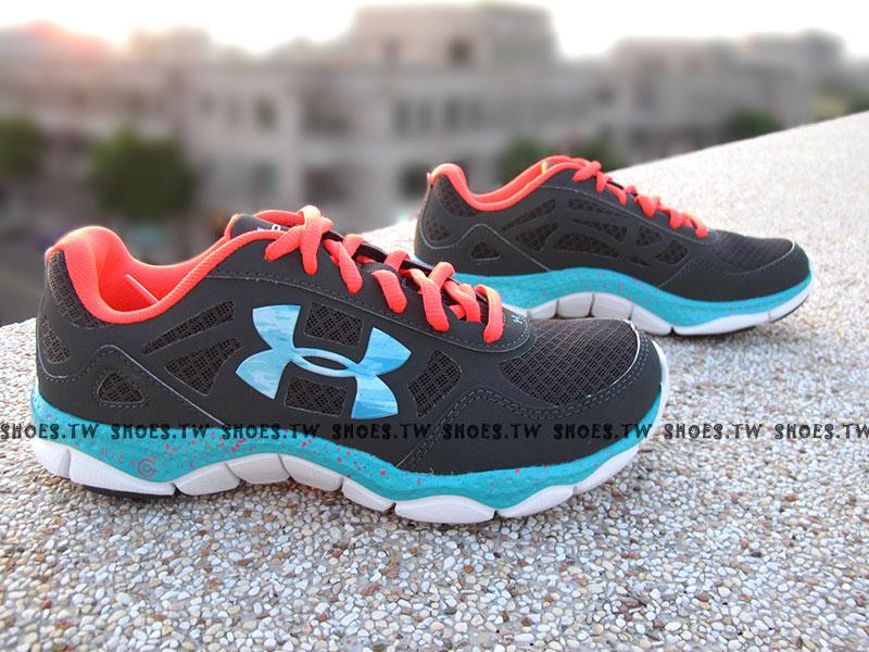 出清6折 [23cm] Shoestw【1249532019】UNDER ARMOUR UA 慢跑鞋 MICRO G 大LOGO 灰桃紅藍 潑墨點點 女款