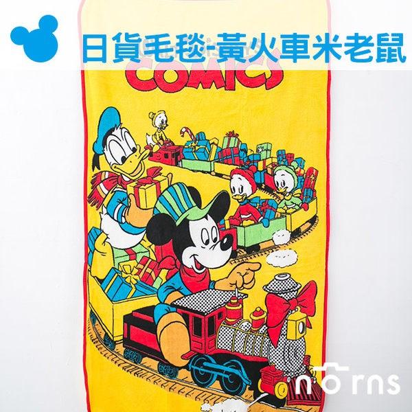 NORNS 【日貨小毛毯 黃色火車米老鼠】迪士尼 米奇 棉被 懶人毯 披肩 暖毯 無釦子