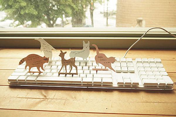 BO雜貨【SV2668】可愛動物鍵盤便簽紙 留言卡 便條紙 memo貼 隨可貼 N次貼 便條本