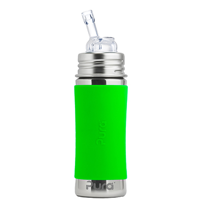 【悅兒樂婦幼用品?】美國Pura 不鏽鋼環保成長瓶 325ml 幼童吸管杯 (森林綠) 附保護套