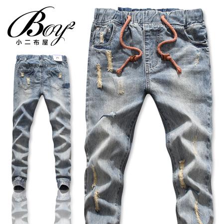 ☆BOY-2☆【OEM8063】牛仔縮口褲美式復古修身刷色破壞伸縮抽繩單寧束口褲