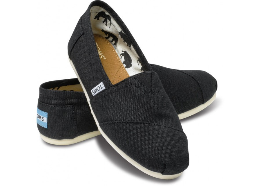 【TOMS】黑色素面基本款休閒鞋 Black Canvas Women\