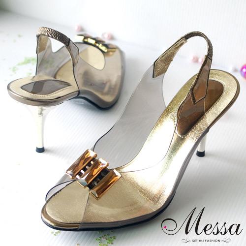 【Messa米莎】人氣夢幻透明高跟鞋壓克力寶石(共兩色)