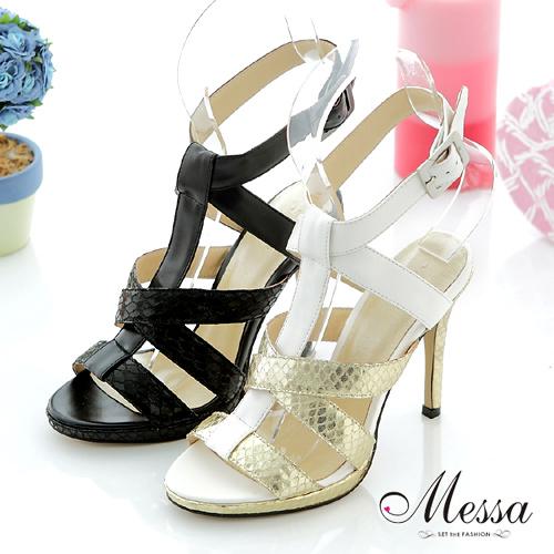 【Messa米莎】(MIT)性感流行款羊皮交叉高跟涼鞋-兩色