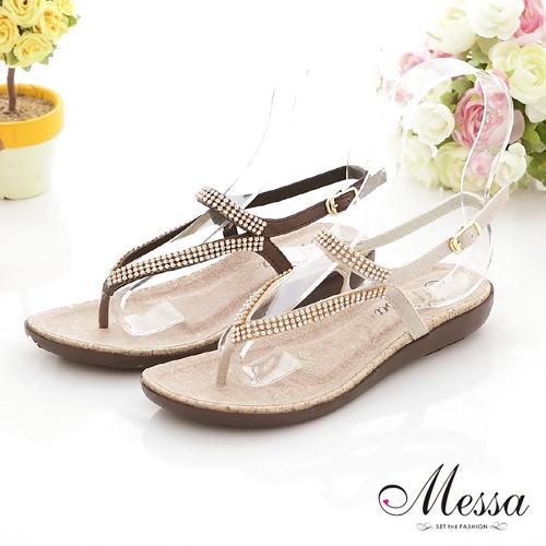 【Messa米莎】(MIT)唯美水鑽人字夾腳平底涼鞋-兩色
