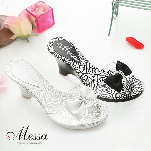 【Messa米莎】(MIT)沁夏蝴蝶結水鑽玻璃楔型涼鞋(共兩色)