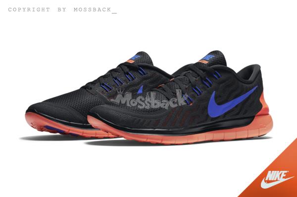 『Mossback』NIKE FREE 5.0 赤足 輕量化 慢跑鞋 黑橘紫(男)NO:724382-015